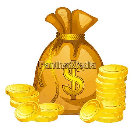 goldmuenz sack voll spargel fonds illustration