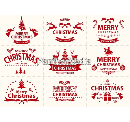 set of red merry christmas label