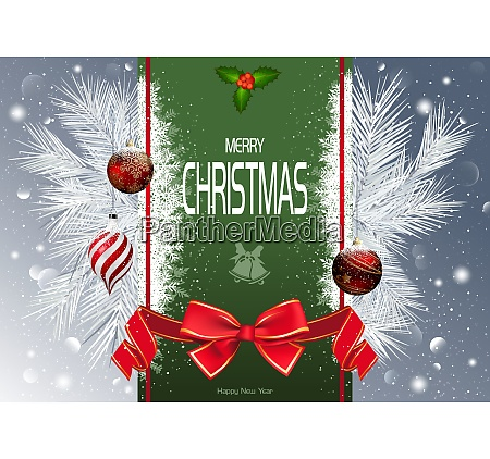 christmas background with green strip and