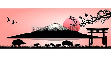 family of wild boars on the
