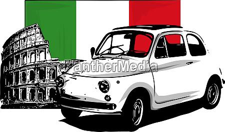 60er jahre italienisches auto isoliert auf