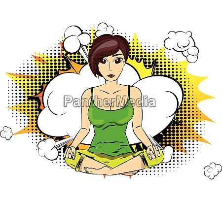 yoga konzept frau macht yoga meditiert