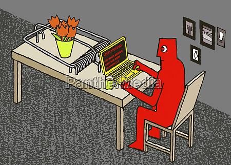 mann mit laptop auf mausefalle