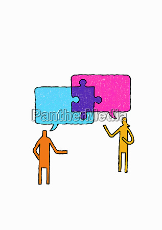 jigsaw piece connecting speech bubbles above