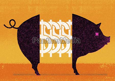 dollarzeichen mitten im schwein