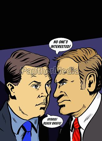geschaeftsleute streiten in sprechblasen