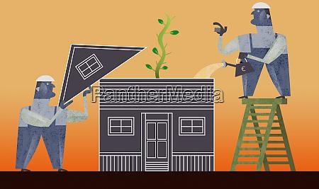 arbeiter pflegen pflanzen im dachgeschoss des