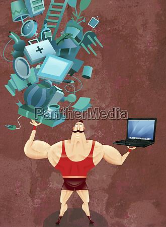 starker mann ausgleichenden laptop und haushaltsgegenstaende