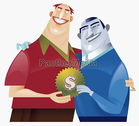 zwei maenner halten zahnspange mit dollar
