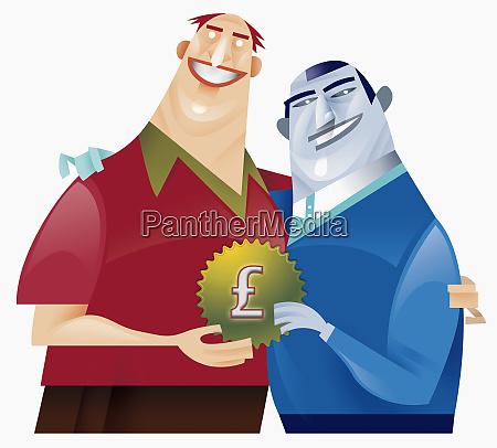 zwei maenner halten zahnspange mit pfund