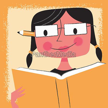 junge studentin liest lehrbuch