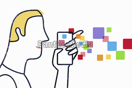 man using mobile device
