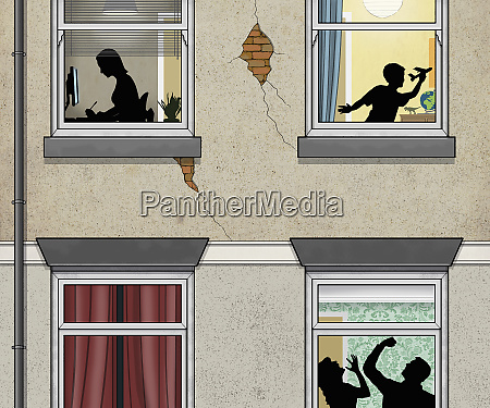 man beating woman behind windowpane with