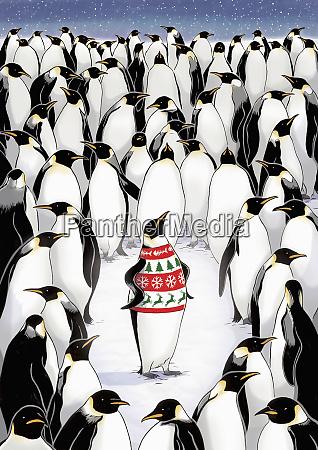 pinguin hebt sich von der menge