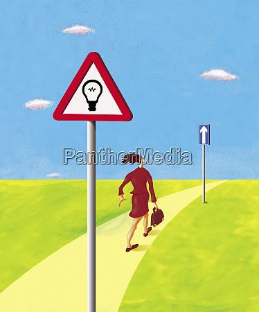 geschaeftsfrau auf dem weg nach vorn