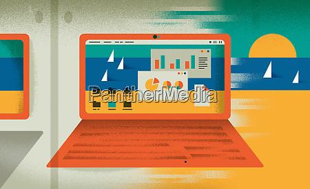 kontrast von diagrammen auf laptop monitor