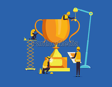builders assembling large trophy