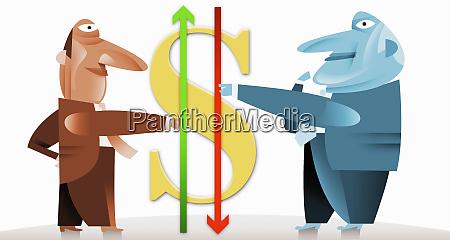 geschaeftsleute halten pfeile neben dollar symbol