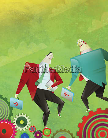 businessmen meeting together on cogs
