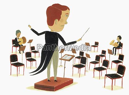 orchesterdirigent mit blick auf leere sitze