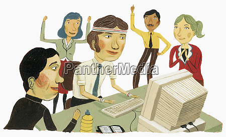 co workers cheering businessman at computer