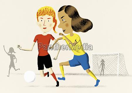 maedchen spielen gemeinsam fussball