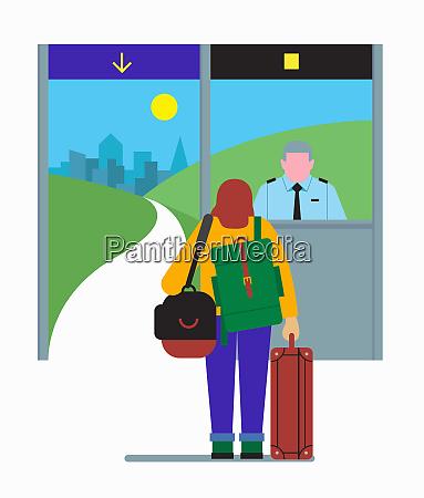 reisende bei der einwanderungskontrolle