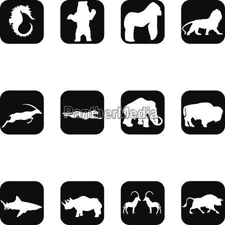 animals logos buttons stickers label collection