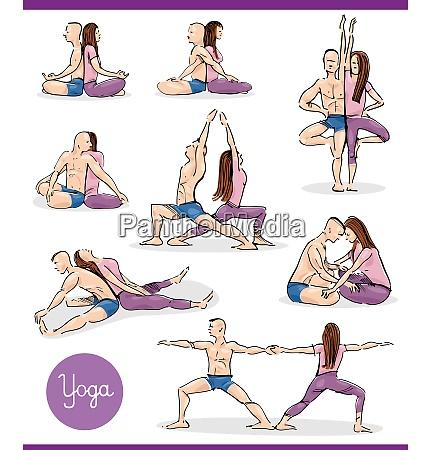 yoga in paar illustration gesetzt