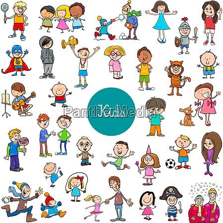 cartoon children characters large set