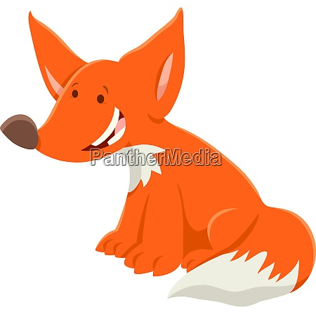 cartoon red fox funny animal character