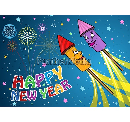 happy new year background with cartoon