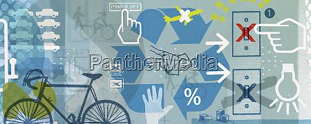 recycling und nachhaltigkeits collage