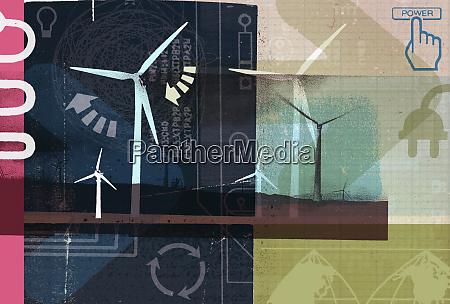 windmuehlen und collage aus erneuerbaren energien