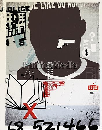 mann mit pistole buch und zahlen