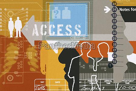 montage of access symbols