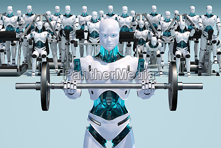 weisser android haelt langhantel mit androiden