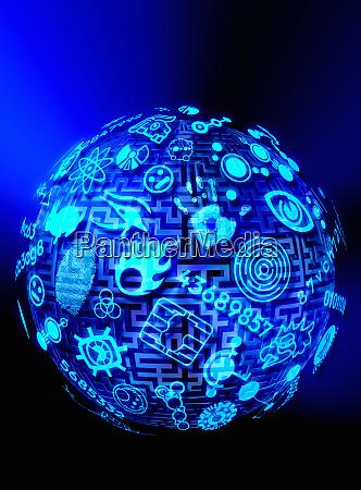 globus mit labyrinth und piktogrammen ueberzogen