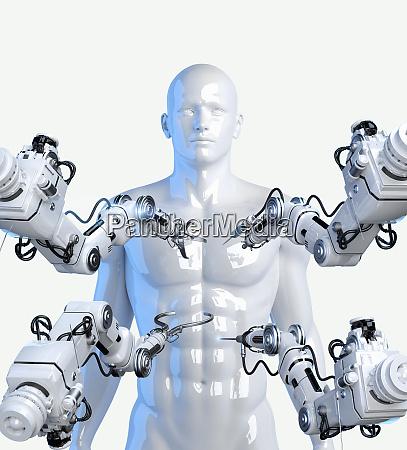 roboterarme mit werkzeugen rund um das