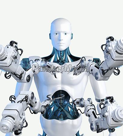 roboterarme mit werkzeugen rund um android