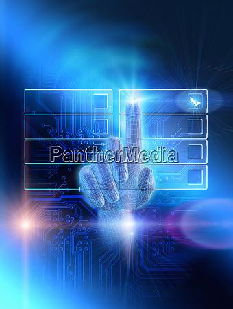 finger choosing checkbox on digital illuminated