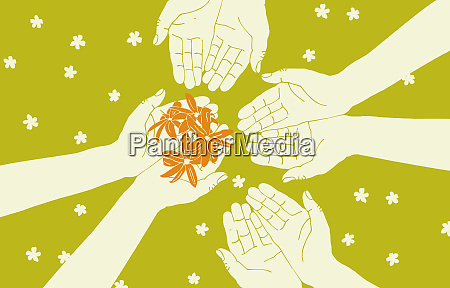 hands cupping and sharing flowers