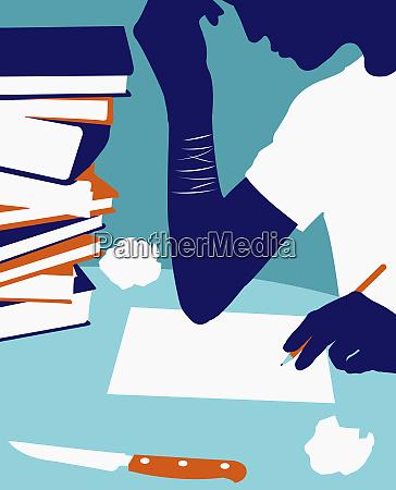 teenager schreiben brief mit schnittzeichen am