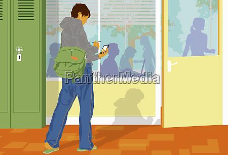 schueler pruefen handy ausserhalb des klassenzimmers