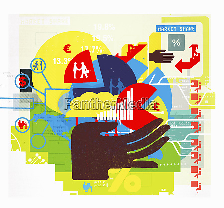 hand holding business finance charts and