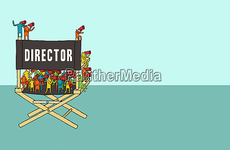 crowd of people in directors chair