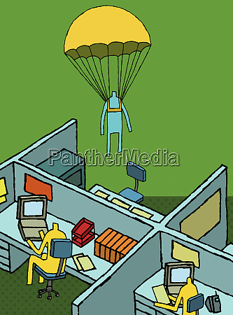 businessman parachuting into office