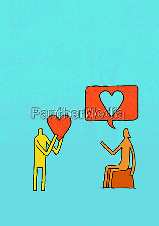 man holding heart and woman with