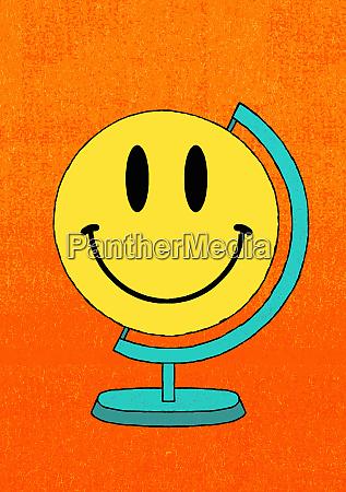 smiley gesicht globus