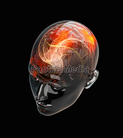 illuminated activity from red human brain
